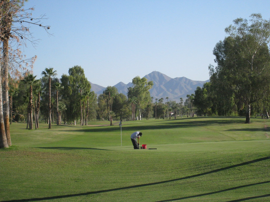 golf course area with the shortest grass